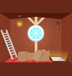 Bright cartoon interior attic vector