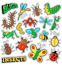 Bugs and Insects Patches Stickers Badges Set vector