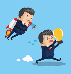 businessman flying jetpack leading teamwork vector image