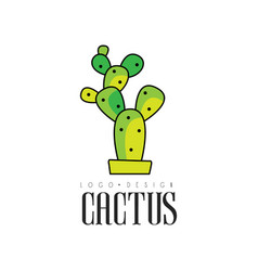 Cactus logo design creative emblem with potted vector