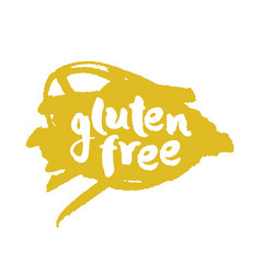 Calligraphy gluten free label on a scribble vector