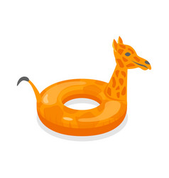 cartoon color swimming ring giraffe toy on a white vector image