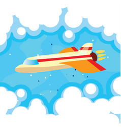 cartoon cute plane in blue vector image