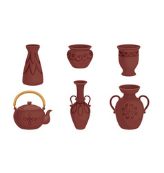 Ceramic pottery or utensils with decorative vector