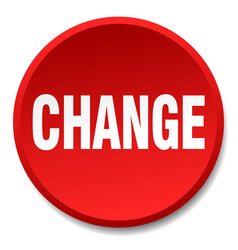 Change red round flat isolated push button vector
