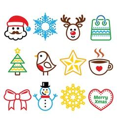 Christmas winter icons set - Santa Claus snowman vector image