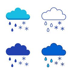 cloud with rainfall and snow icon set in flat vector image