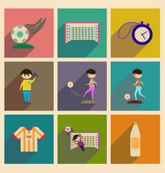 concept of flat icons with long shadow football vector image