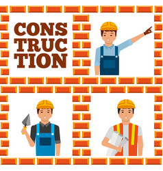 construction workers lettering set vector image