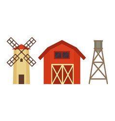 cowshed with windmill and boiler on metal stand vector image