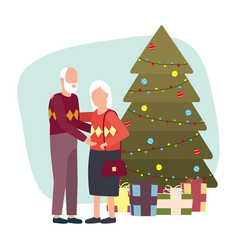 Cute grand parents with christmas dcecoration vector
