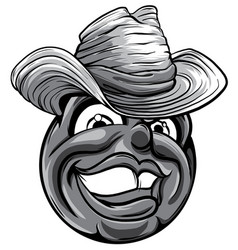 cute monochromatic smiling emoticon wearing cowboy vector image