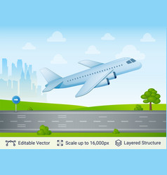 departing airplane on runway vector image