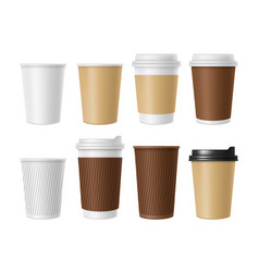 disposable coffee cup blank template of vector image