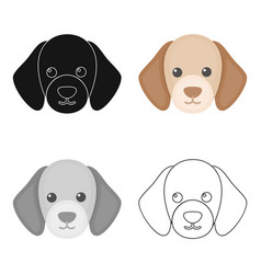 dog muzzle icon in cartoon style for web vector image
