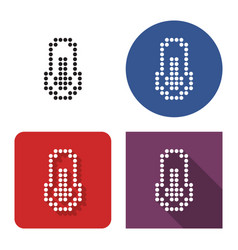dotted icon thermometer in four variants with vector image