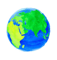 Earth with watercolor vector