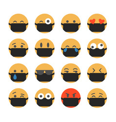 Emoticons with protective masks popular chat vector