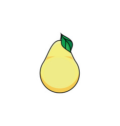 Flat sketch style yellow fresh ripe pear vector