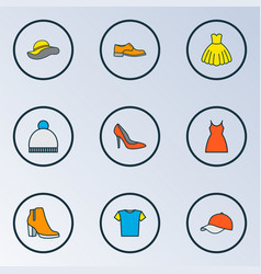 garment icons colored line set with hat gown vector image