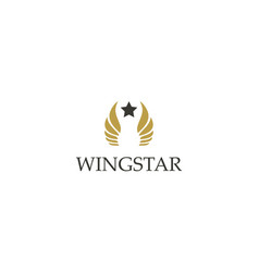 Gold wing star logo vector