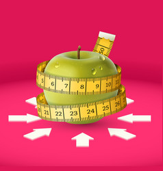 green apple yellow measuring tape arrow diet vector image