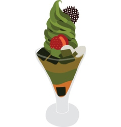 Green tea ice cream parfait vector