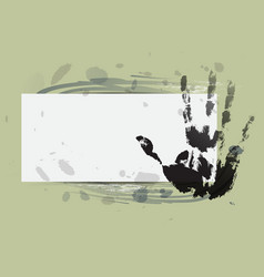Hand print with watercolor background vector