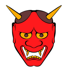 hannya mask icon cartoon vector image