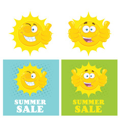 happy yellow sun character collection vector image