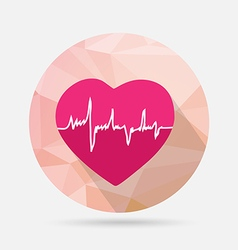 heart flat icon on geometric background vector image