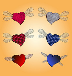 hearts valentines with wings of insects vector image