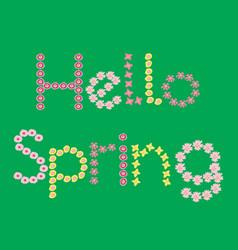 hello spring flower lettering vector image
