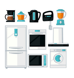 Home kitchen cooking appliances flat icons vector