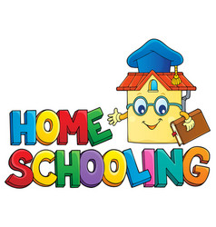 Home schooling theme sign 6 vector