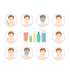 Instructions for facial care nutrition vector