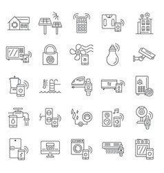 Intelligent building icon set outline style vector