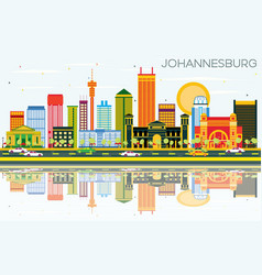 Johannesburg skyline with color buildings blue vector
