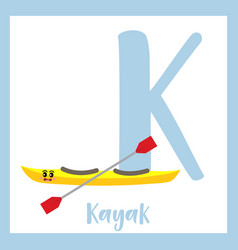 Letter k vocabulary kayak vector