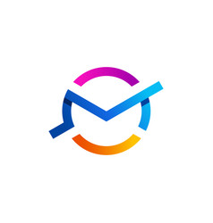 Letter m clock searching logo time research icon vector