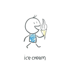 Man eating ice cream vector image