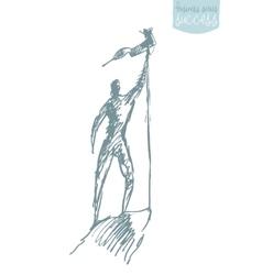 Man top mountain flag winner sketch vector image