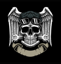 mechanic skull ribbons vector image
