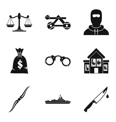 Military hardware icons set simple style vector