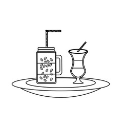 milk shake and coffee jar vector image