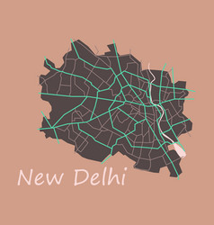 new delhi map flat style design vector image