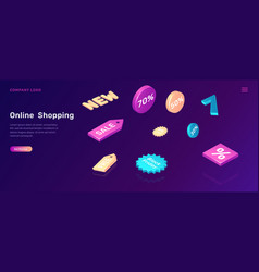 online shopping isometric concept with sale icons vector image