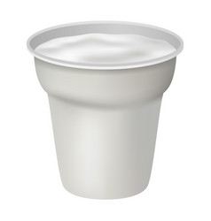open white yogurt mockup realistic style vector image