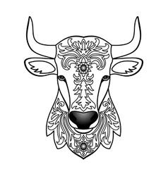 Ornamental White Bull vector