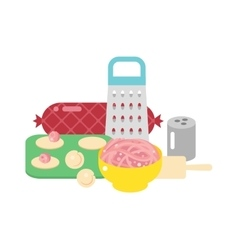 Pelmeni meat dumplings vector image